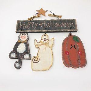 Happy Halloween Large Wooden Cat Ghost & Pumpkin